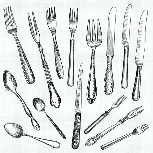 Realistic Kitchen Cutlery Design Vector Graphics Free Vector In