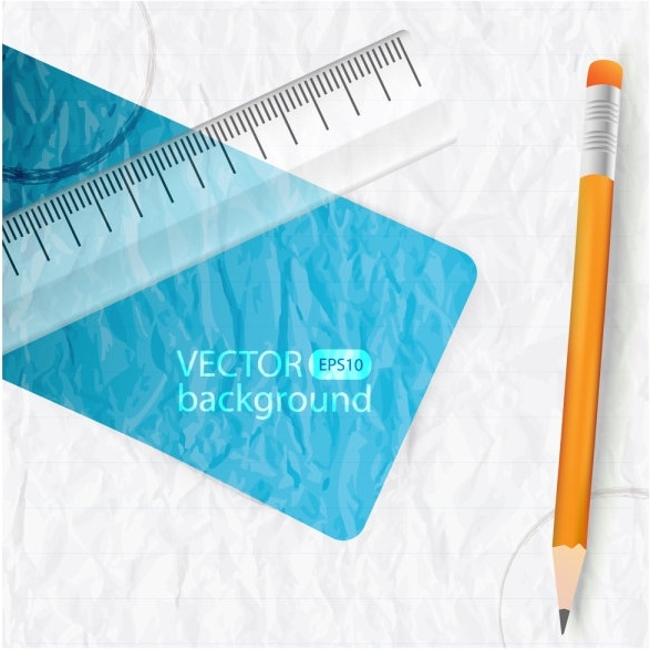 realistic learning stationery 03 vector