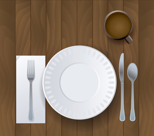 realistic plates and cutlery vector set