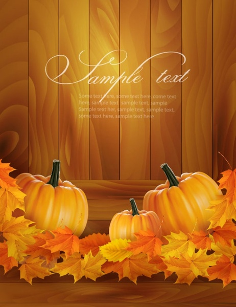 realistic pumpkin card 01 vector