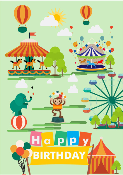 recreation park vector illustration with circus elements