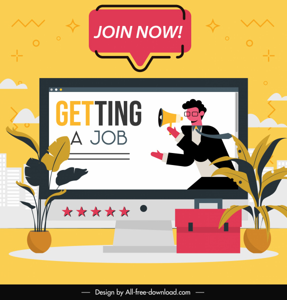 recruitment banner desktop recruiter sketch flat classic design