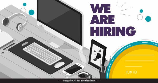 recruitment banner modern work desk devices sketch