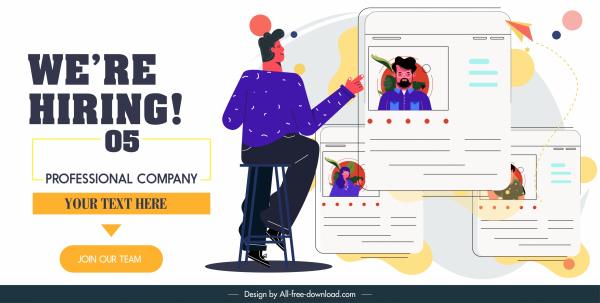 recruitment poster personnel profile sketch cartoon design