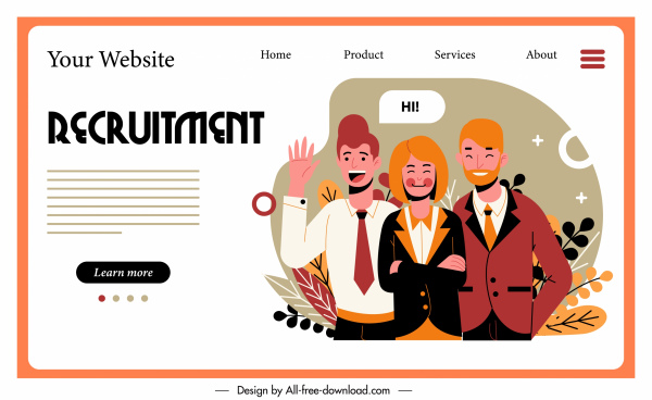 recruitment web template personnel sketch cartoon characters