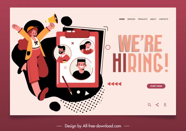 recruitment webpage template classical recruiter candidates sketch