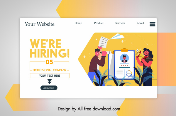 recruitment website template colorful cartoon characters sketch