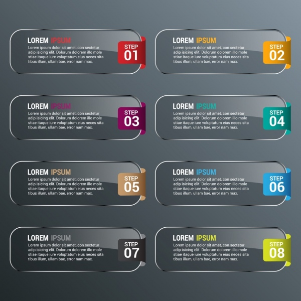 rectangle infographics template shiny grey horizontal decoration