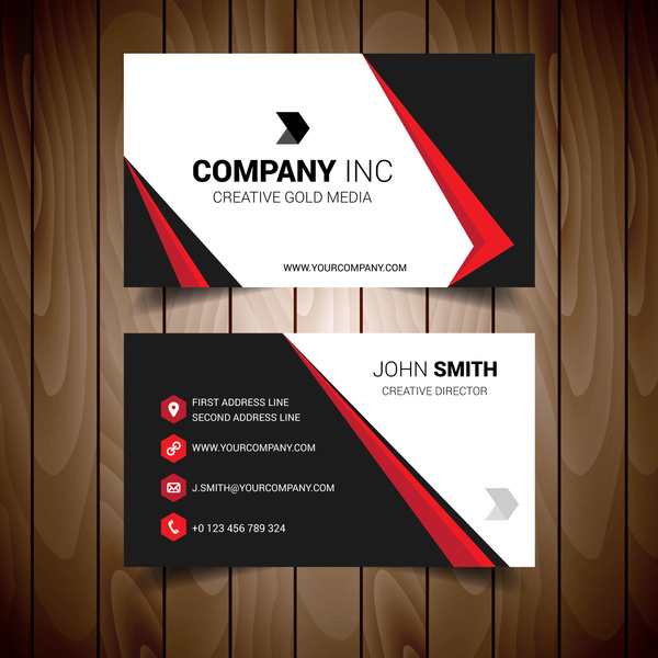Red and black bordered business card free vector in encapsulated red and black bordered business card reheart Images