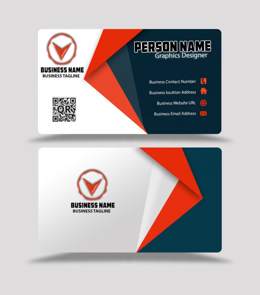 Red And Black Color Business Card