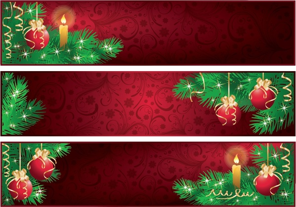 christmas banner templates classical red green baubles decor