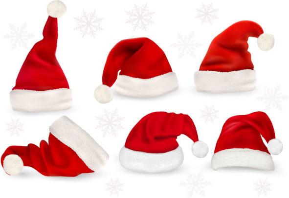 red christmas cap vector set