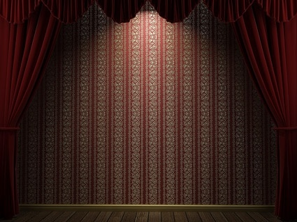 red curtain and the european pattern of wall picture