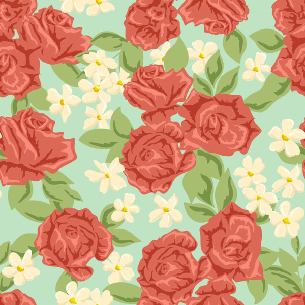 red flower seamless pattern vector graphic