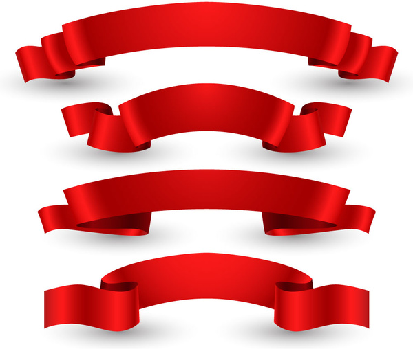 red glossy ribbon set free vector in adobe illustrator ai Book Clipart For Free Free Heart Clip Art Black and White