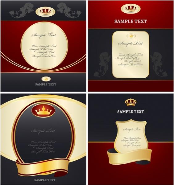 labels templates elegant royal theme crown ribbon decor
