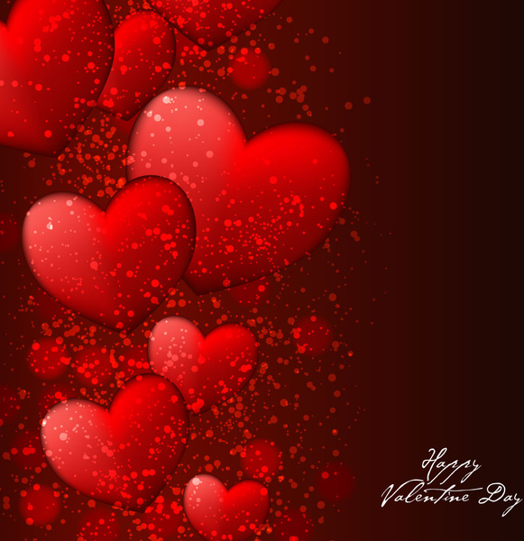Red Heart Happy Valentine Day Background Free Vector In Adobe