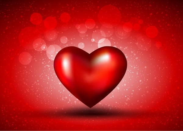 Red Heart on Bokeh Background Vector Graphic