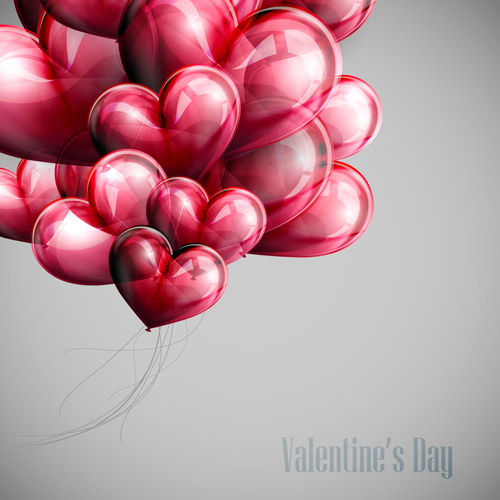 red heart shapes balloon valentine background