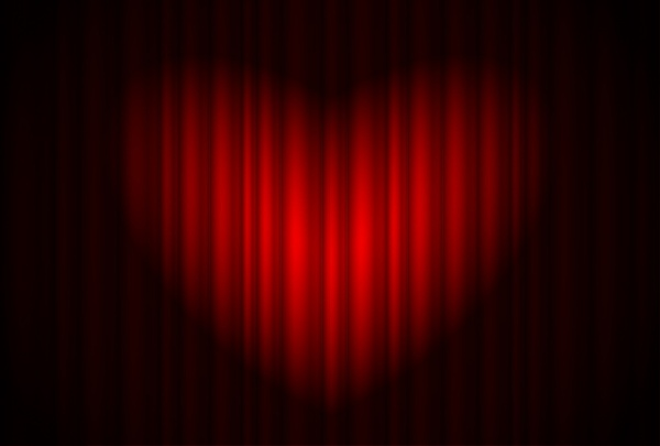 red heartshaped curtain vector