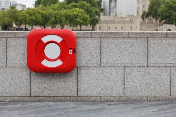red lifebuoy container