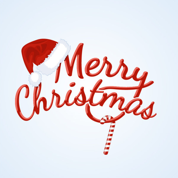 red merry christmas logo creative vector