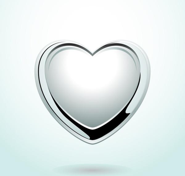 heart medal icon modern shiny silver design