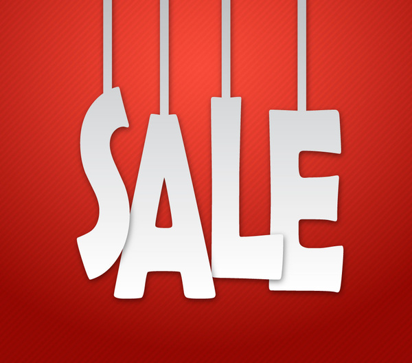 red sale banner with white hanging letters free vector in adobe