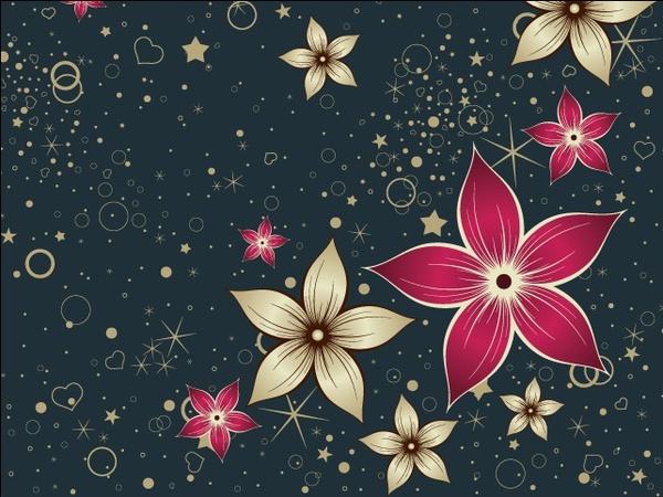 flowers decorative vector design on dark background