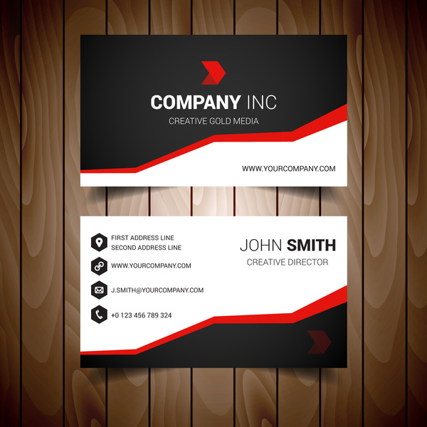 Red Steped Corporate Business Card Free Vector In Adobe Illustrator