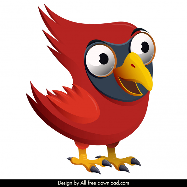 red whiskered bird icon funny cartoon character design