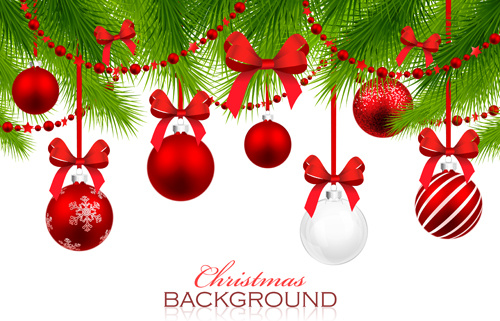 Red With White Christmas Decorations Background Vector Free