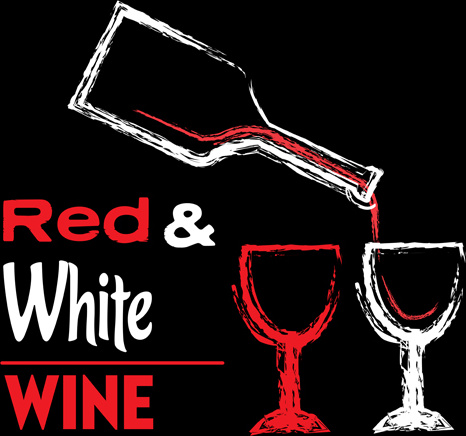 red with white wine hand drawn background