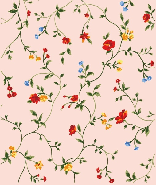 red yellow and blue small flowers vector background