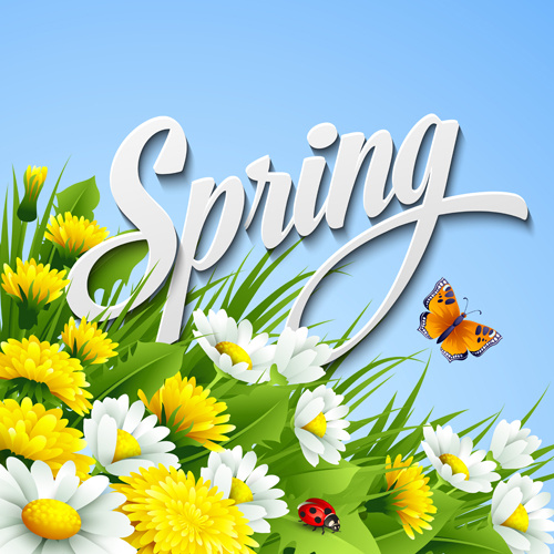 refreshing spring flower backgrounds vector