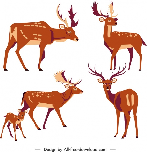 reindeer icons cute cartoon characters sketch