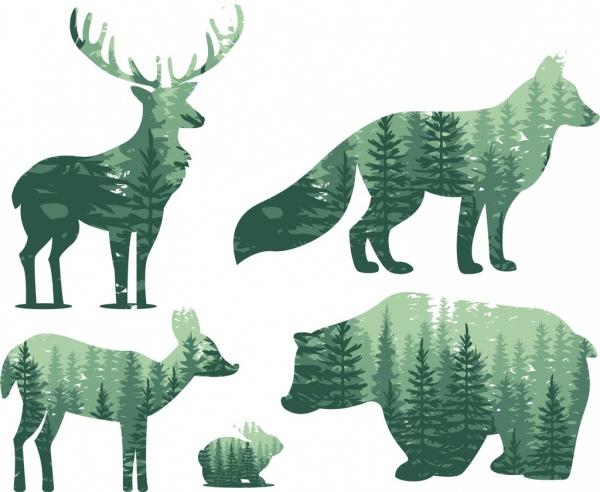 reindeers fox bear rabbit icons scenery silhouette design