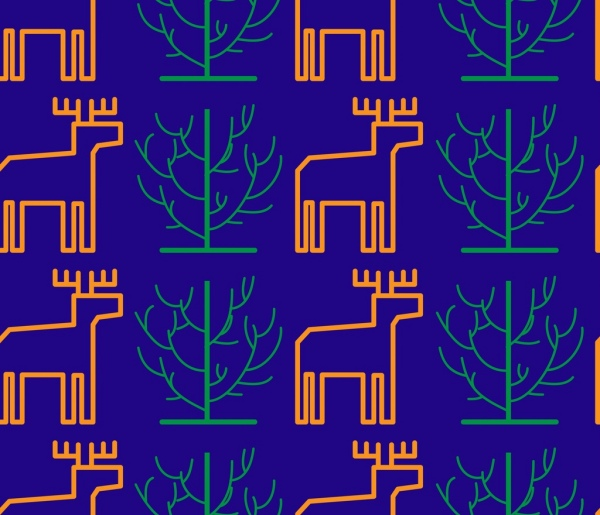 reindeers trees pattern outline colored repeating style