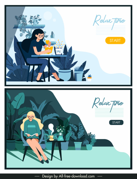 relax time banners resting lady sketch cartoon design