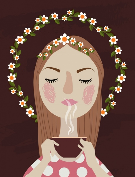 relaxed woman drawing flower wreath tea cup decoration