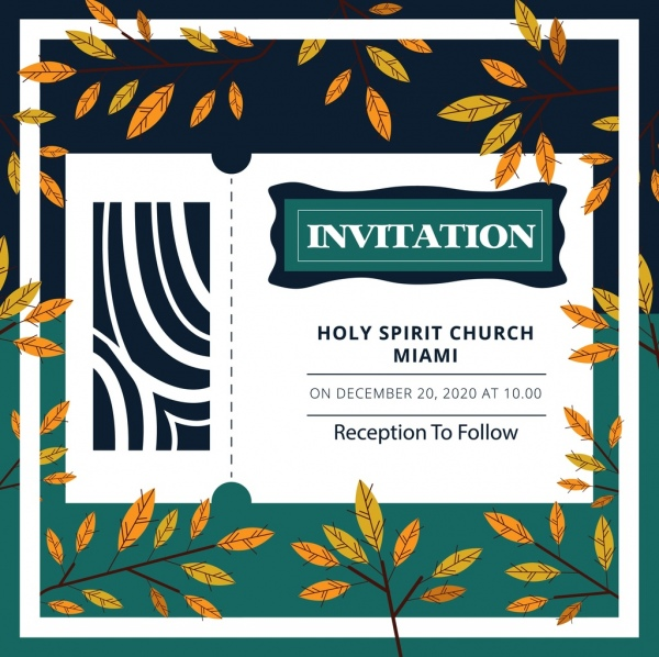 Religion Invitation Template Natural Leaves Decoration Free