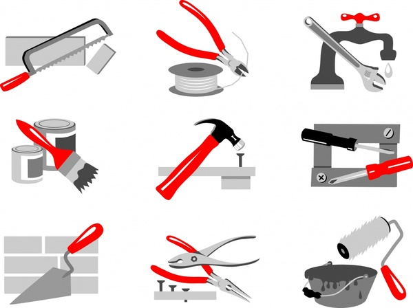building tools icons colored modern sketch
