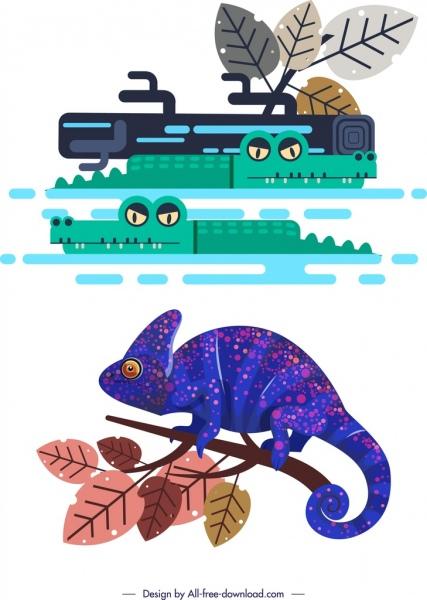 reptile species design elements crocodile gecko icons