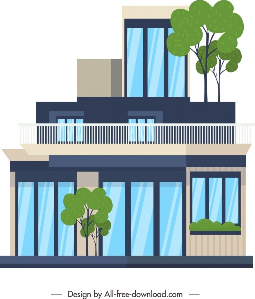 residential house architecture template colored contemporary sketch