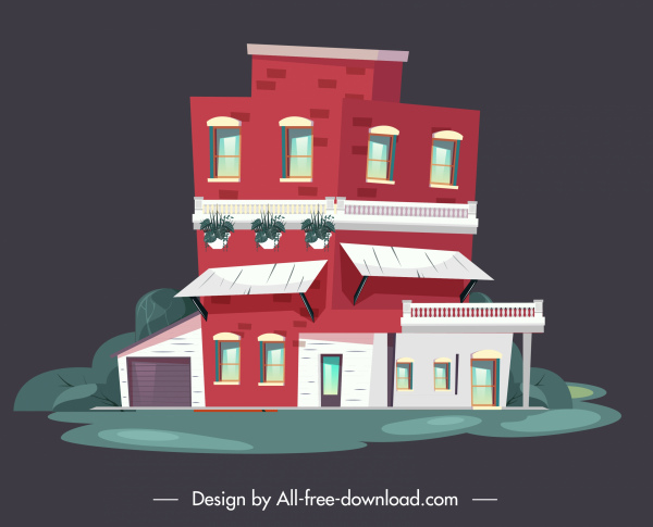 residential house icon colorful flat design contemporary decor