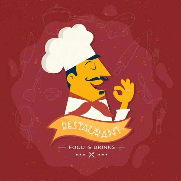 restaurant advertisement cook icon kitchenwares sketch