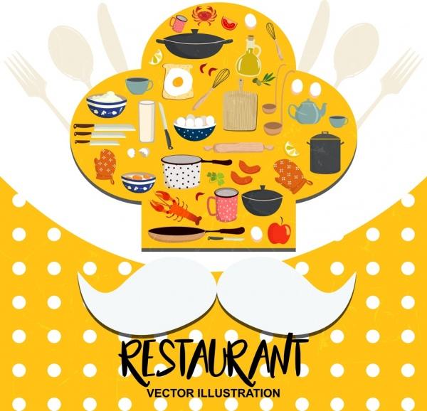 restaurant advertising chef hat moustach utensils icons decor