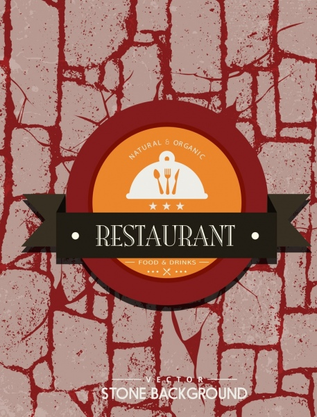 restaurant advertising red grunge stone background logo decor