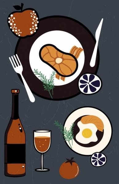 restaurant background food kitchenware icons flat design