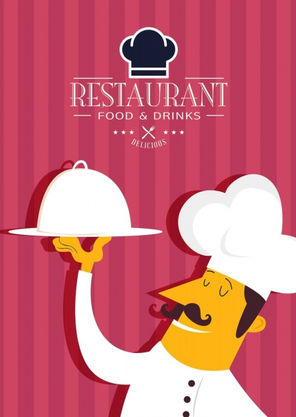 restaurant banner cook icon stripes background logo ornament